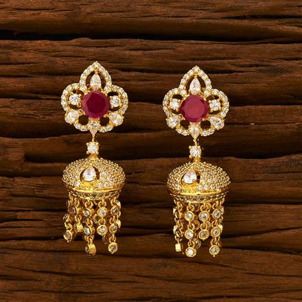 55340 American Diamond Jhumki with gold plating