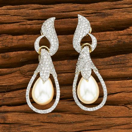 55347 CZ Classic Earring with 2 tone plating