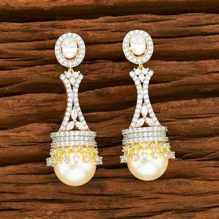 55349 CZ Classic Earring with 2 tone plating