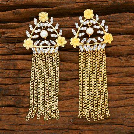 55351 CZ Classic Earring with 2 tone plating