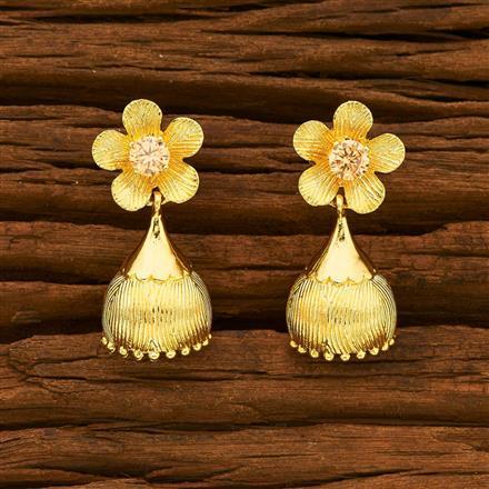 55364 American Diamond Jhumki with gold plating