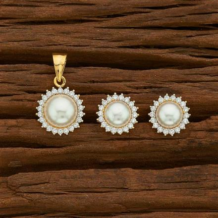 55527 CZ Delicate Pendant Set with 2 tone plating