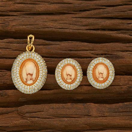 55528 CZ Classic Pendant Set with gold plating