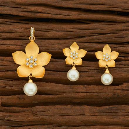 55529 CZ Classic Pendant Set with gold plating