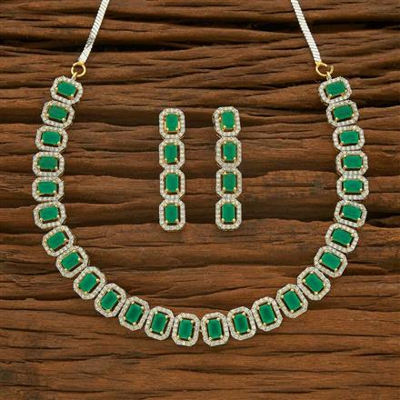55540 CZ Classic Necklace with 2 tone plating