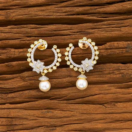 55634 CZ Short Earring with 2 tone plating