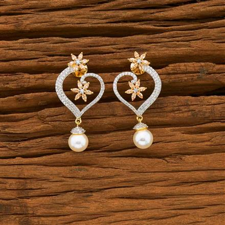 55635 CZ Short Earring with 2 tone plating