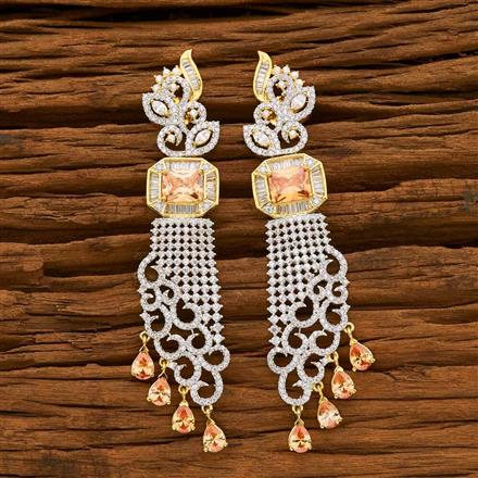 55637 CZ Long Earring with 2 tone plating