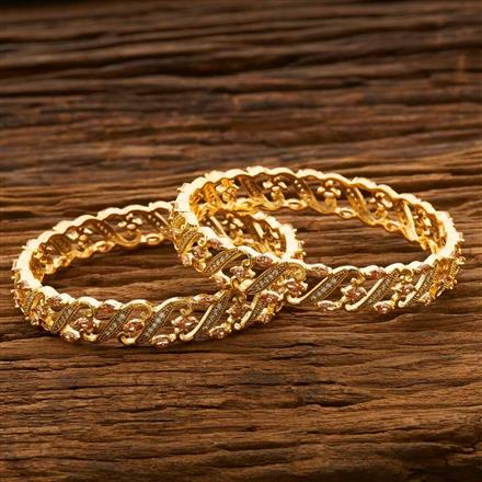 55666 CZ Classic Bangles with gold plating