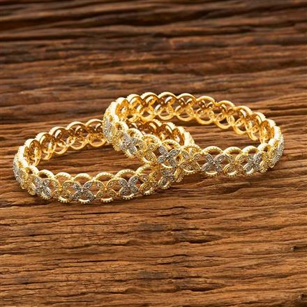 55668 CZ Classic Bangles with 2 tone plating
