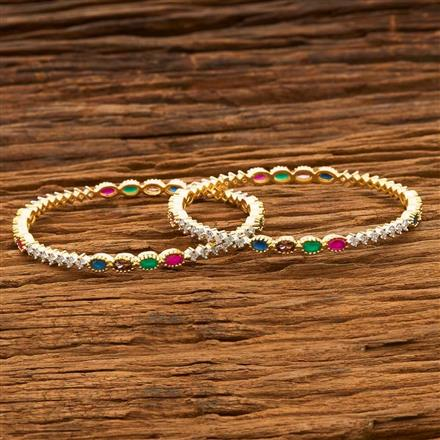 55669 CZ Classic Bangles with 2 tone plating