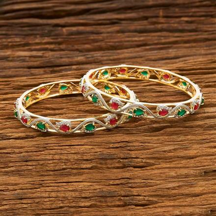 55670 CZ Classic Bangles with 2 tone plating