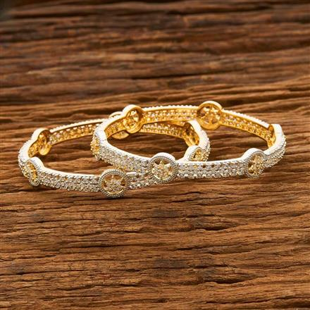 55671 CZ Classic Bangles with 2 tone plating