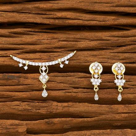 55751 CZ Classic Mangalsutra with 2 tone plating