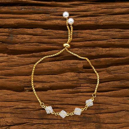 55755 CZ Adjustable Bracelet with 2 tone plating