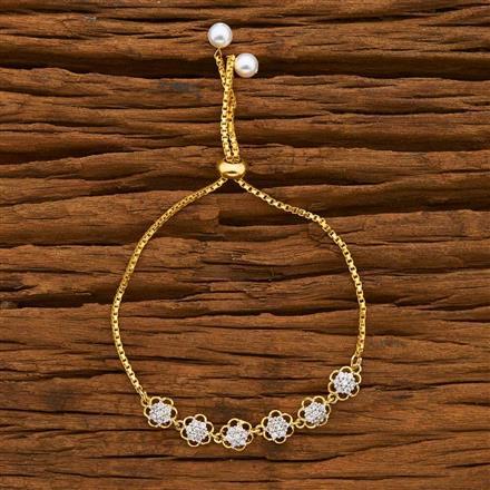 55757 CZ Adjustable Bracelet with 2 tone plating