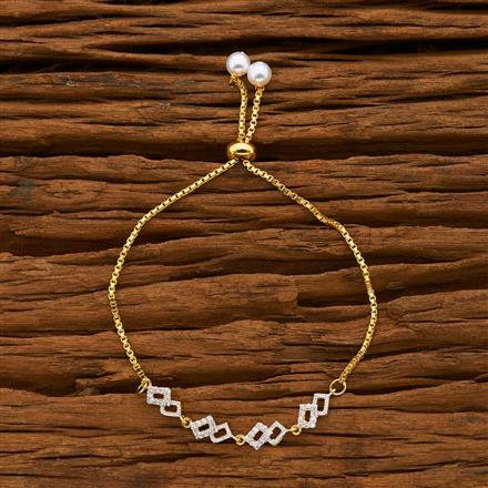 55761 CZ Adjustable Bracelet with 2 tone plating