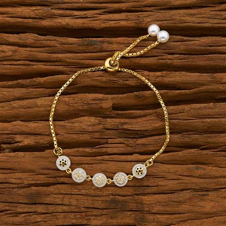 55765 CZ Adjustable Bracelet with 2 tone plating