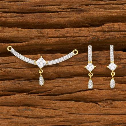 55774 CZ Delicate Mangalsutra with 2 tone plating