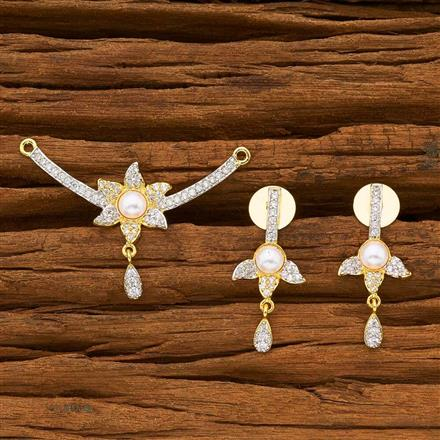 55778 CZ Delicate Mangalsutra with 2 tone plating