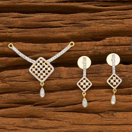 55779 CZ Delicate Mangalsutra with 2 tone plating
