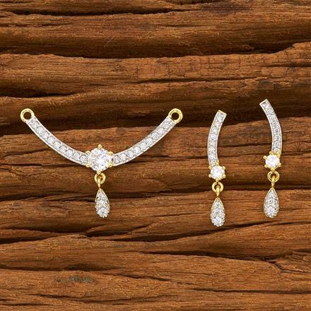 55780 CZ Delicate Mangalsutra with 2 tone plating