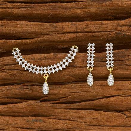 55781 CZ Delicate Mangalsutra with 2 tone plating