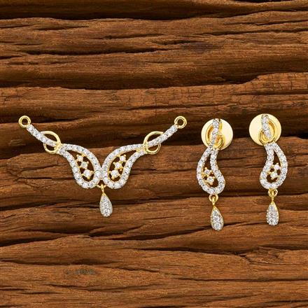 55783 CZ Delicate Mangalsutra with 2 tone plating