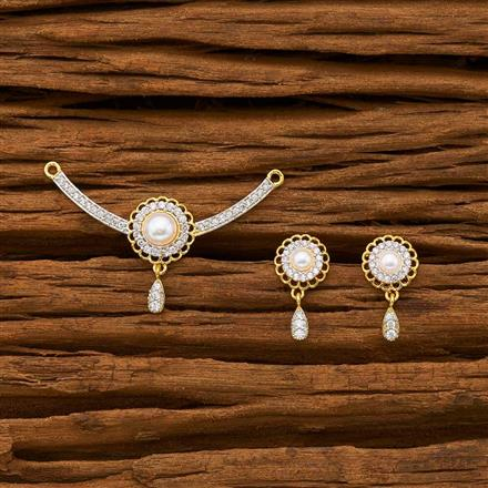 55784 CZ Delicate Mangalsutra with 2 tone plating
