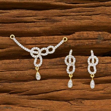 55786 CZ Delicate Mangalsutra with 2 tone plating
