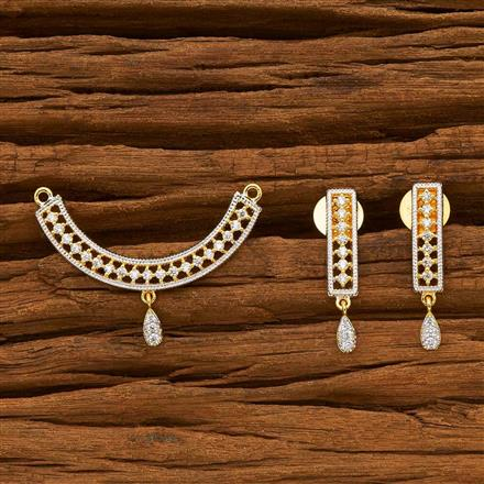 55787 CZ Delicate Mangalsutra with 2 tone plating