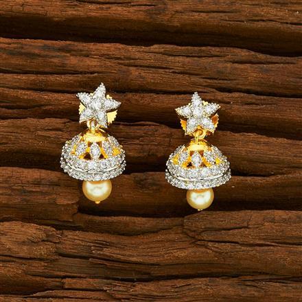 55925 American Diamond Jhumki with 2 tone plating