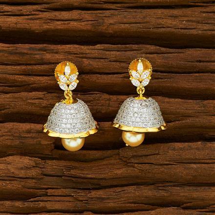 55926 American Diamond Jhumki with 2 tone plating
