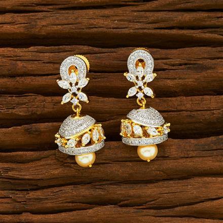 55927 American Diamond Jhumki with 2 tone plating