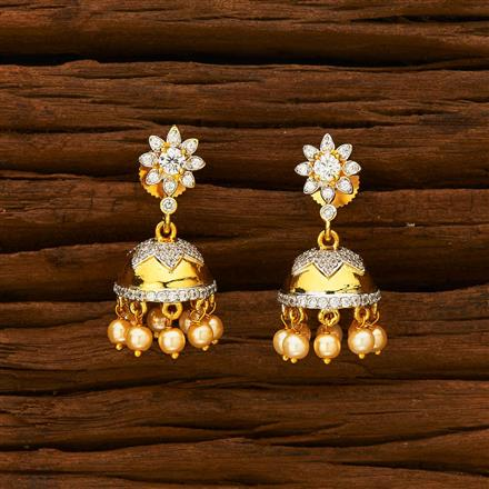 55928 American Diamond Jhumki with 2 tone plating