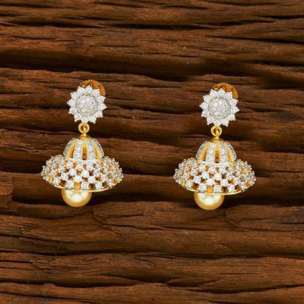 55929 American Diamond Jhumki with 2 tone plating