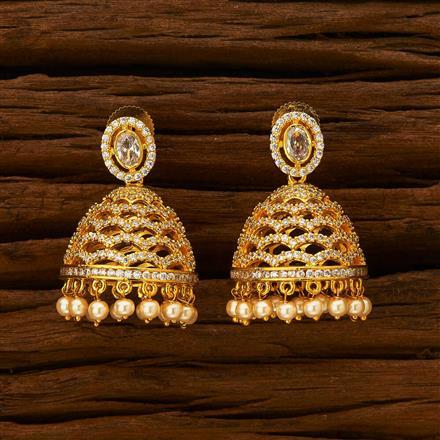 55933 American Diamond Jhumki with gold plating