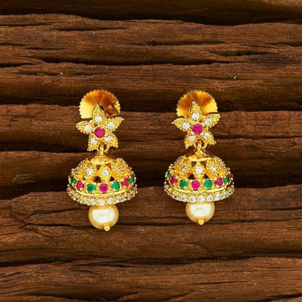 55934 American Diamond Jhumki with gold plating