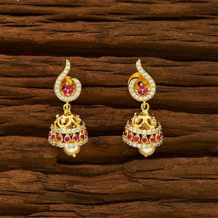 55935 American Diamond Jhumki with gold plating