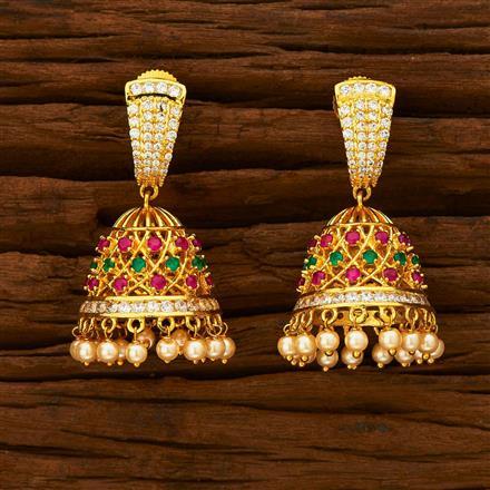 55936 American Diamond Jhumki with gold plating