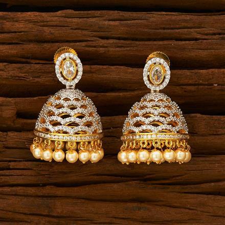55937 American Diamond Jhumki with 2 tone plating