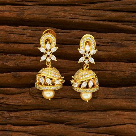 55947 American Diamond Jhumki with gold plating
