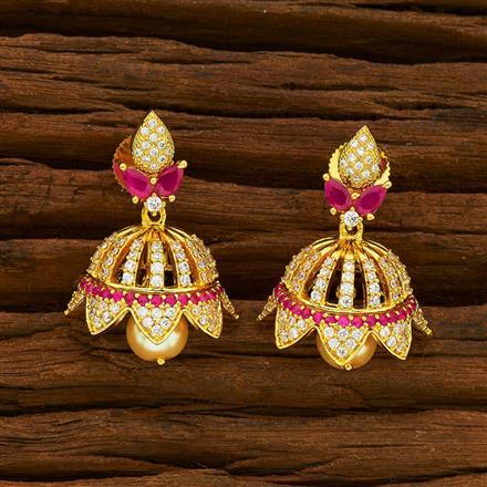 55953 American Diamond Jhumki with gold plating