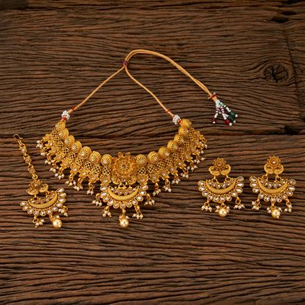 560012 Antique Mukut Necklace With Matte Gold Plating