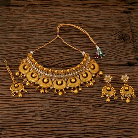 560014 Antique Mukut Necklace With Matte Gold Plating