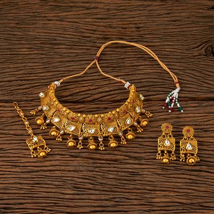 560015 Antique Mukut Necklace With Matte Gold Plating
