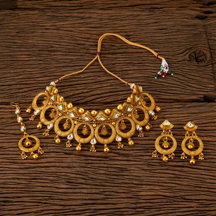 560016 Antique Mukut Necklace With Matte Gold Plating