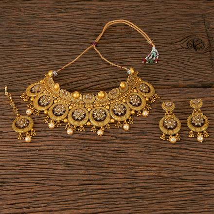 560019 Antique Mukut Necklace With Matte Gold Plating
