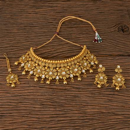 560020 Antique Mukut Necklace With Matte Gold Plating