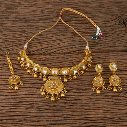 560023 Antique Classic Necklace With Matte Gold Plating
